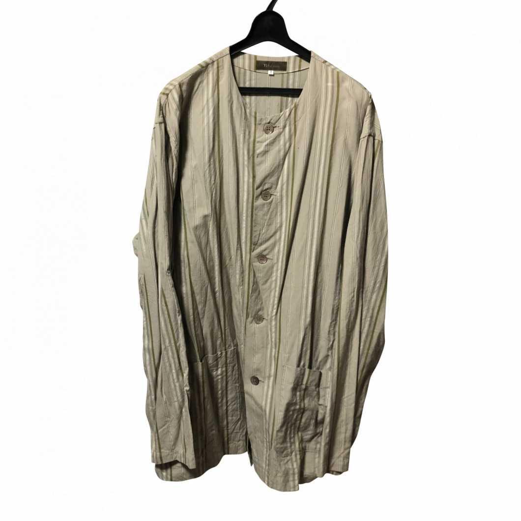 Y's for men ワイズフォーメン ノーカラーストライプシャツ【買取金額 4,000円】