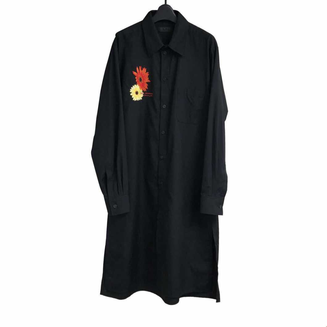 S'YTE Yohji Yamamoto サイト ヨウジヤマモト 19SS 花(サンフラワー・ガーベラ)刺繍レギュラーカラーブロードロングシャツ 3 UH-B74-080