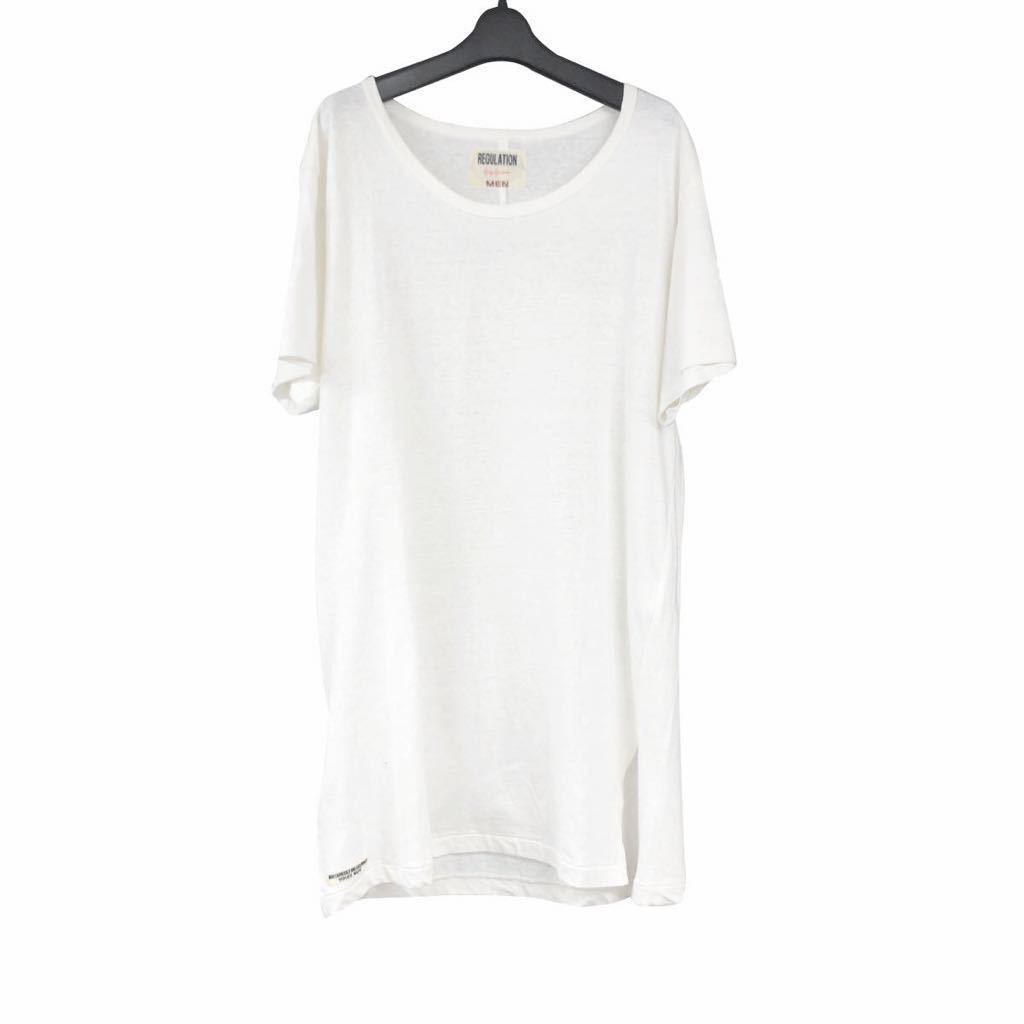REGULATION Yohji Yamamoto MEN レギュレーション ヨウジヤマモト メン 21SS ベルギーリネンブレンドUネックTシャツ 3 HD-T55-076