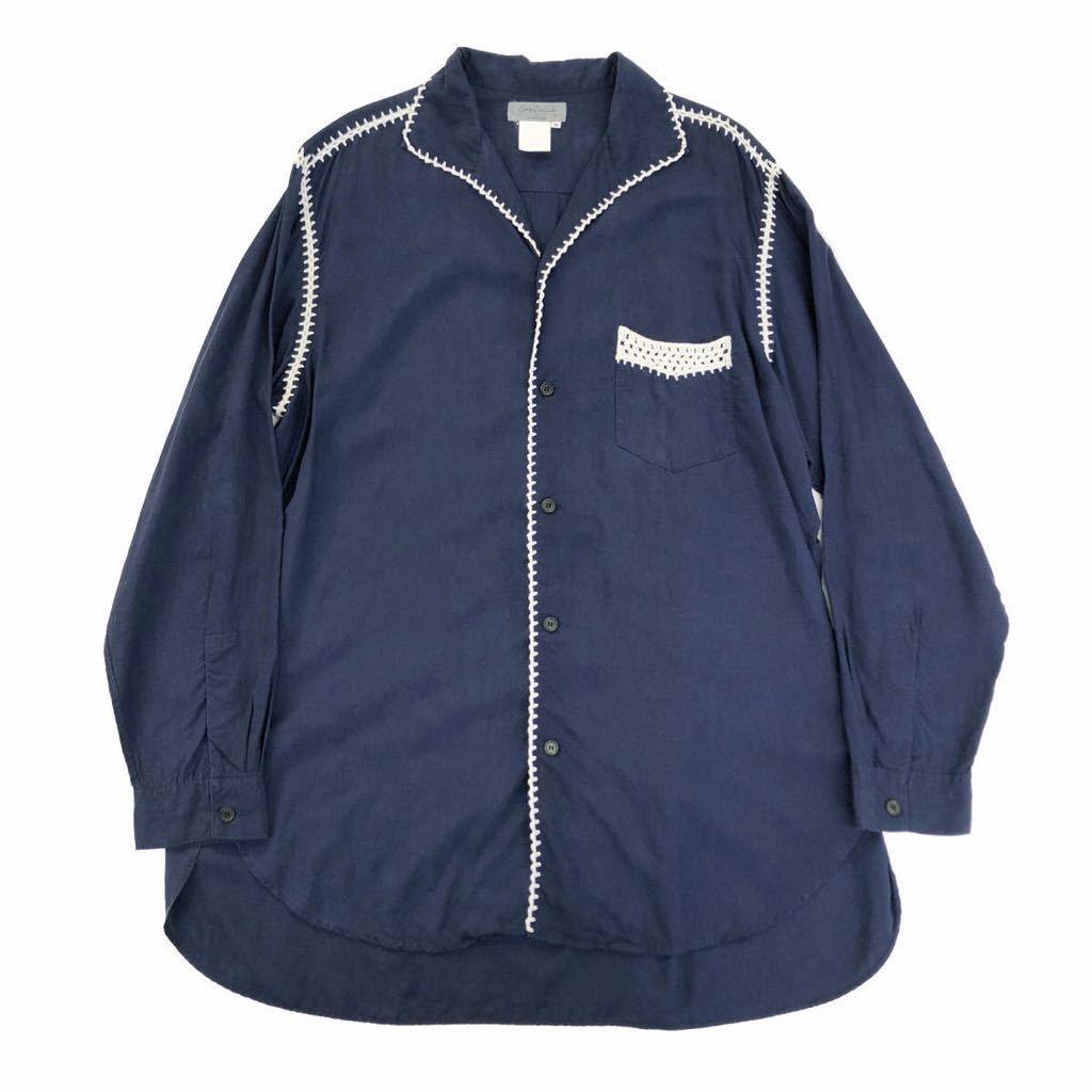 Yohji Yamamoto POUR HOMME ヨウジヤマモトプールオム 91SS 鉤編みステッチオープンカラーシャツ【買取金額 19,000円】